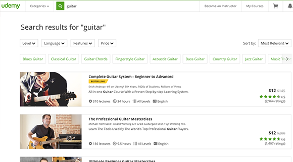 Learn Guitar with Udemy---The-Top-5-Beginner-Guitar-Lessons-Series