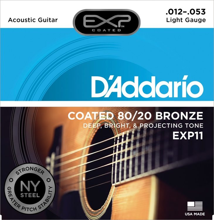Product Image of D'Addario EXP16 Coated Phosphor Bronze Acoustic Guitar Strings, Light, (12-53)